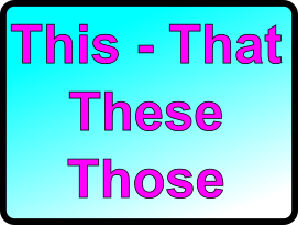 Les démonstratifs : this - that - these - those
